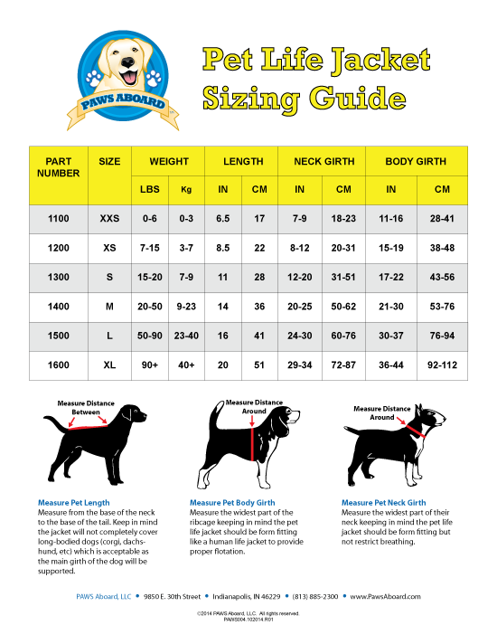 dog life jacket size guide
